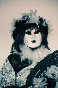Costumed Reveler of the Carnival of Venice in Blue