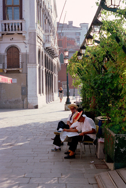 Off duty gondoliers Venice