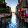 Empty Venice Canal with Lights