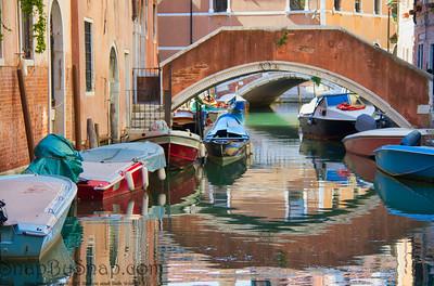 Boats and Bridge in Venice