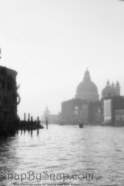 Venice Buildings at Sunrise from the Grand Canal in fog