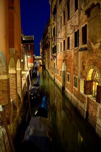 Venice Canal at Night Italy