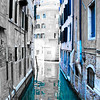 Empty Venice Canal in Blue
