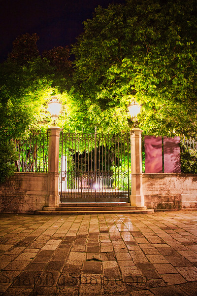 Closed Gate at Night