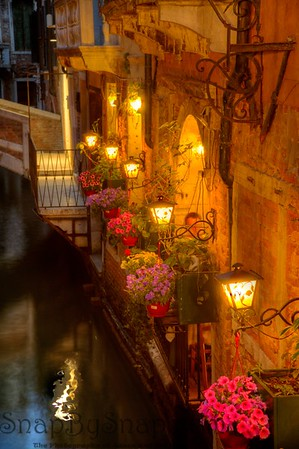 Lights along a Venetian Canal