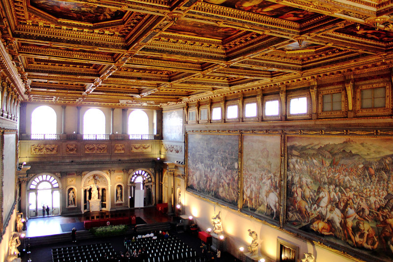 Amazingly large Grand Hall and paintings in Palazzo Vecchio, Florence.  Pictures don't really capture anything in Italy, but especially this.  Notice how small the people are toward the bottom left.