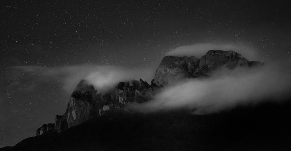 Mountain, Clouds and Stars