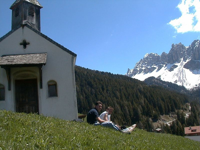 Rest on a srping day in the Dolomites. Near Wuerzjoch pass - closed due to snow