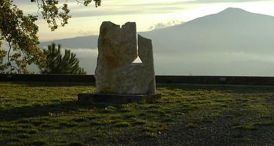 Sculpture Garden, La Foce, looking west toward Monte Amiata