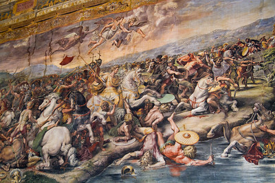 Battle of the Milvian Bridge, started by Raphael and completed by Giulio Romano Room of Constantine Vatican Museum Vatican City, Italy