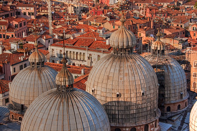 Domes of St. Marks basilica, seen from bell tower.