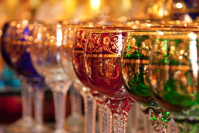 Beautiful Murano glass goblets on display in store.