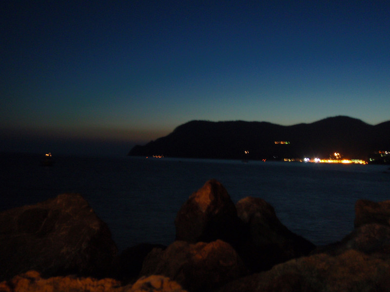 Vernazza pier view at night, Cinque Terre, Italy