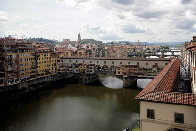 River with covered bridge, Florence, Italy.