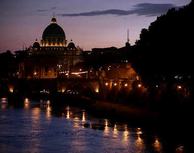 St. Peter's basilica, Rome, at dusk.