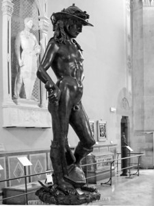 Donatello's David (1430) Museo del Bargello, Firenza            Many art historians feel that Donatello's David, completed in 1430 and the first fully nude sculpture publicly displayed in over a thousand years, marked the dawn of the Renaissance.