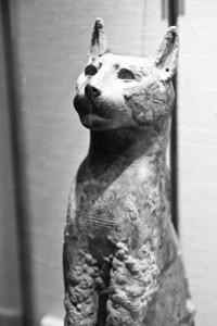 Bronze hollow cast statue of the cat goddess Bastet, containing the mummy of the animal (New Kingdom, XXII Dynasty, 945-712 BC) Vatican Museum Vatican City, Italy
