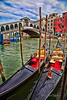 Gondolas at Rialto Bridge in Venice