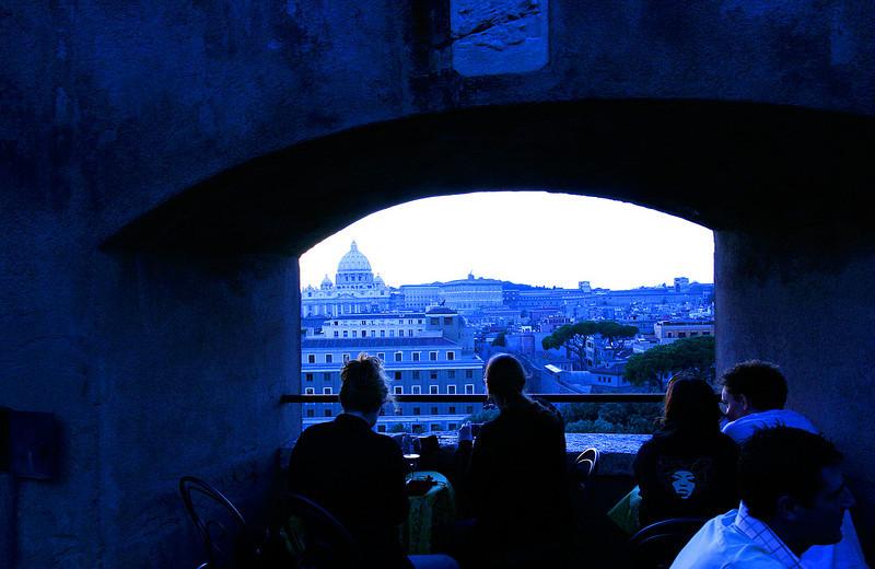 Restaurant overlooking Rome