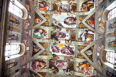 "Sistine Chapel - taken clandestinely because the ""pope police"" routinely ask people to erase their images of this marvel. Guess they want the monopoly on the royalties. Held the camera at waist level and took it ""blind"" - I didn't straighten it in order not to erase any sections of the walls."