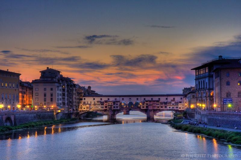 The Ponte Vecchio bridge at sunset, Florence