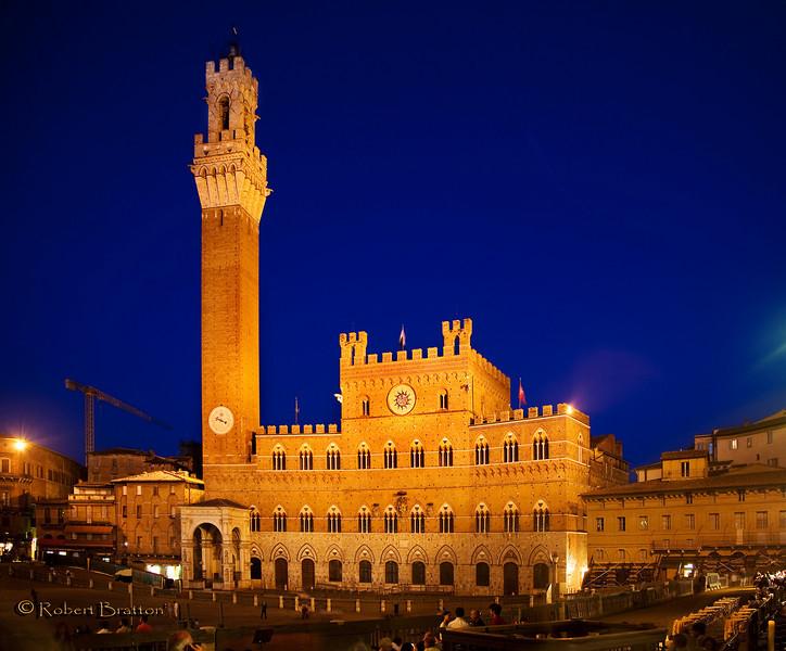 Palazzo Pubblico at Night in Siena