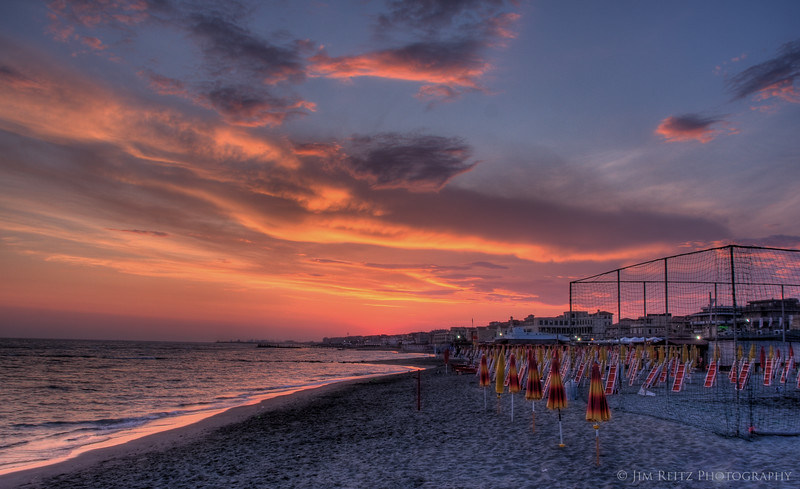 Amazing sunset on the beach at Lido di Ostia