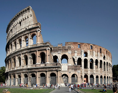 The Roman Colosseum on an August afternoon.
