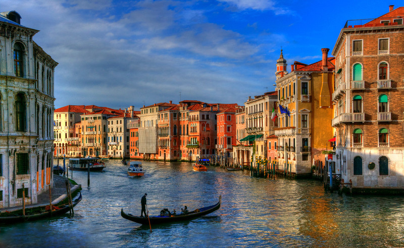 """""""Along the Grande Canal"""" Venice at high tide. 10/2011. This was judged as 14 out of 15 in camera club on 10/20/11. This was also submitted to the NFRCC 2012 Convention in Niagara Falls, NY and won First Place in Color Prints and Peoples Choice"""