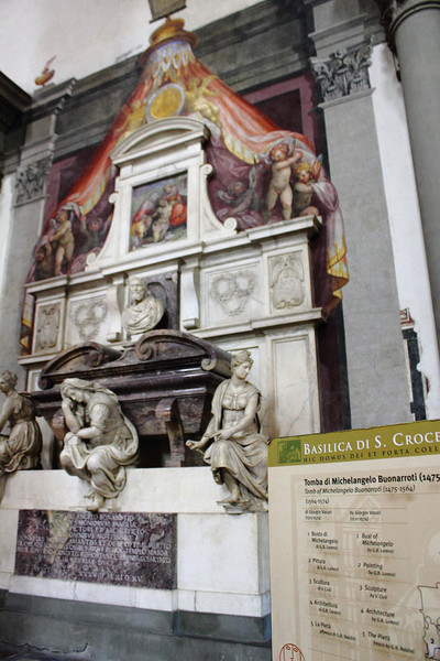 Michaeloangelo's tomb in Santa Croce Church; next to Machiavelli's, Dante's, etc.