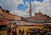 Piazza del Campo in Siena with dirt spread on the ground in preparation for the big house race