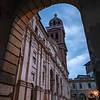 The stunning facade and bell towerof the Palatin Church of Santa Barbara, within the Ducal Palace of Mantua, Italy.