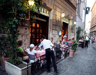 Dining al fresco in Rome.
