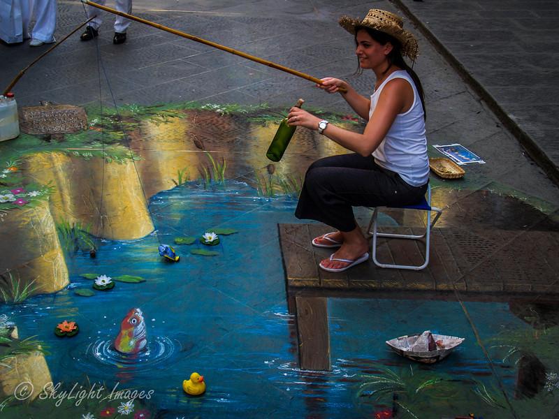 Street 3d chalk artist