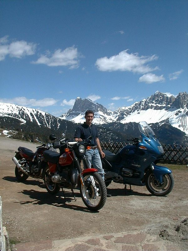 My nephew and great mechanic Bernie on top of  Plose in<br /> the Dolomites. My RT, his 80GS, son's Bandit 1200