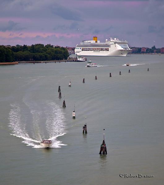 Costa Cruise Ship Entering Port of Venice at Sunrise