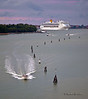 Costa Cruise Ship Entering Port of Venice at Sunrise
