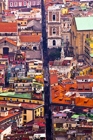 """Spaccanapoli-""""Naples Splitter"""" A street that runs through the center of old Naples seen from a hill overlooking the city"""