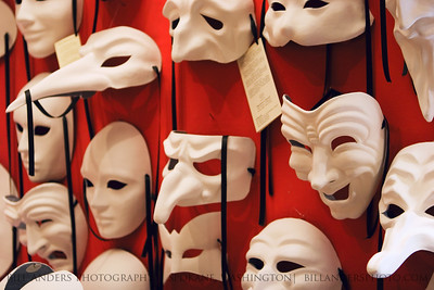 Blank carnival masks.  Venice, Italy.
