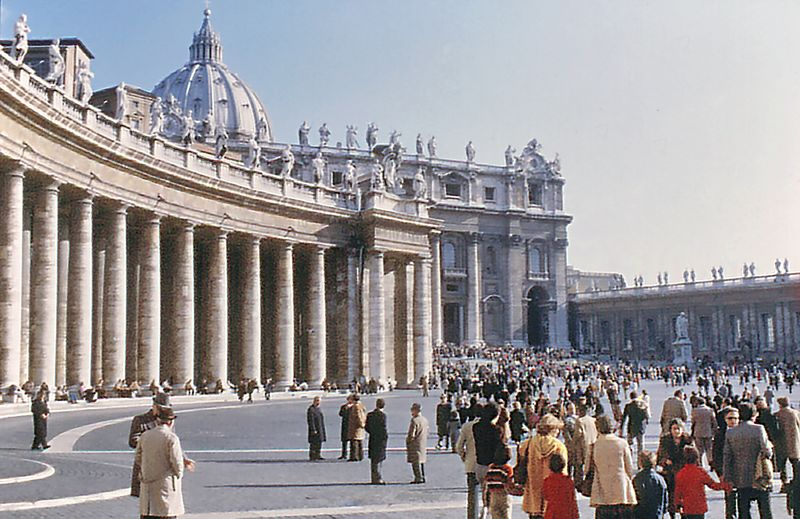 St Peter's colonnade Rome Italy - Jan 1979