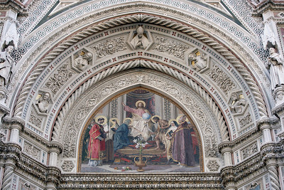 Detail above the main entrance to the Duomo Cathedral, Florence, Italy.