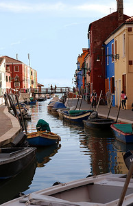 A canal in the Island of Burano, Italy outside of Venice
