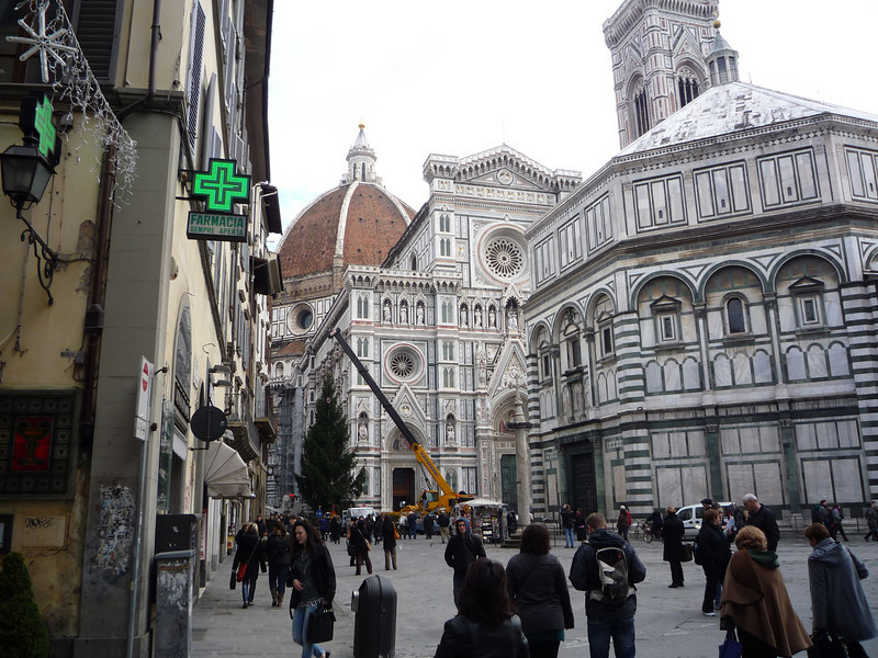 The Piazza Del Duoma. The dome was completed in 1436 and designed by Brunelleschi. Brunelleschi's dome is the largest masonry dome ever built and it is the coverage of the Cathedral of Florence.