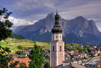 Town of Kastelruth, with the Schlern peak in background