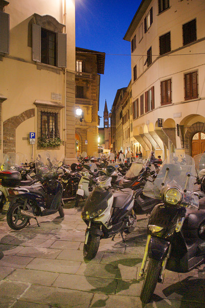 Scooters at Night, Florence, Italy