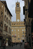 "Palazzo Vecchio, Florence.  From Wikipedia:  The Palazzo Vecchio (""Old Palace"") is the town hall of Florence, Italy. This massive, Romanesque, crenellated fortress-palace is among the most impressive town halls of Tuscany.  Overlooking the Piazza della Signoria with its copy of Michelangelo's David statue as well the gallery of statues in the adjacent Loggia dei Lanzi, it is one of the most significant public places in Italy.  In 1299 the commune and people of Florence decided to build a palace, worthy of the city's importance and giving greater security, in times of turbulence, to the magistrates. The tower contains two small cells, that, at different times, imprisoned Cosimo de' Medici (the Elder) (1435) and Girolamo Savonarola (1498)."