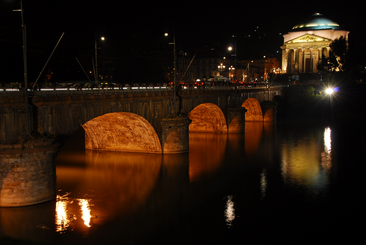 Bridge in Turin at night