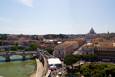 View of the Tiber River and Vatican City from Castel Sant'Angelo Rome, Italy