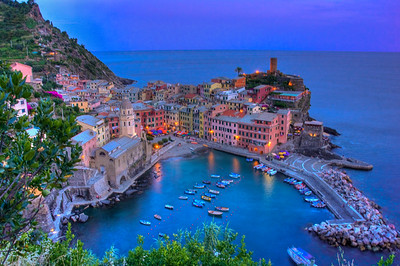 View of Vernazza, Italy in the Cinque Terre.