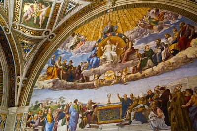 Dispute Over the Blessed Sacrament, painted by Raphael Room of the Signature Vatican Museum Vatican City, Italy